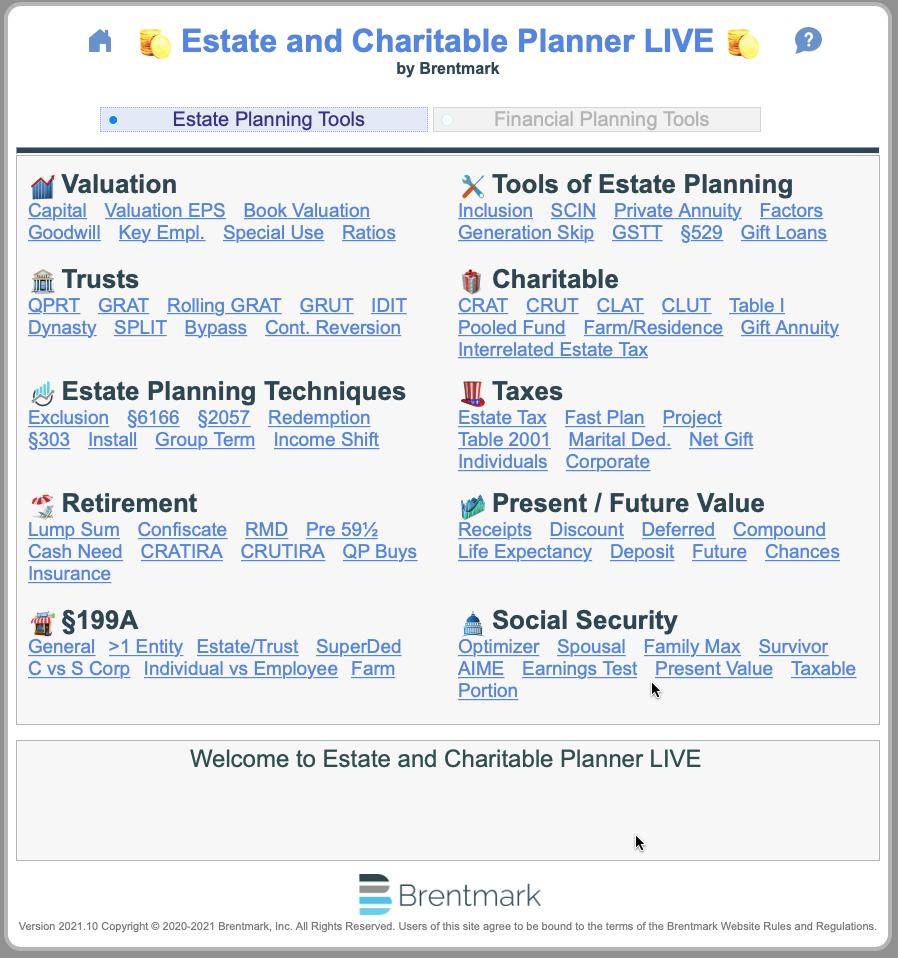 Main Menu - Estate Planning Tools