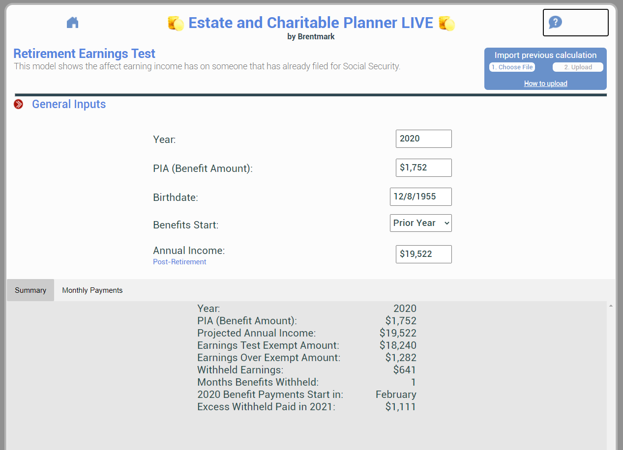 Social Security: Retirement Earnings Test Main Screen