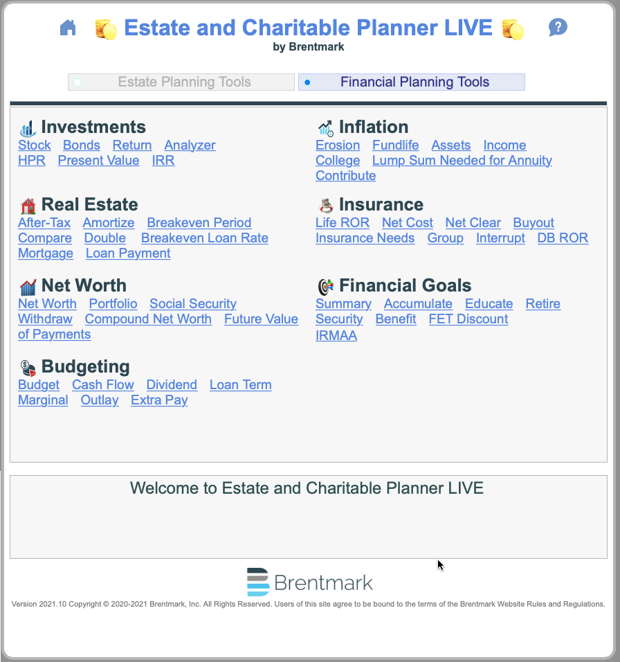 Main Menu - Financial Planning Tools